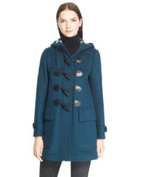 Burberry Brit | Blue 'finsdale' Wool Duffle Coat | Lyst