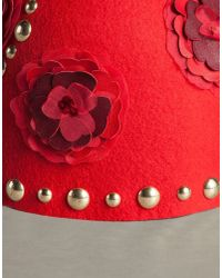 Dolce & Gabbana - Red Cloche With Studded Brooches - Lyst