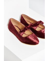Urban Outfitters | Red Rhonda Velvet Bow Flat | Lyst