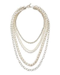 Slane | Metallic Freshwater Pearl  Chain Layered Necklace | Lyst
