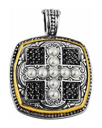 Konstantino | White Spinel & Pearl Square Cross Pendant Enhancer W/18k | Lyst