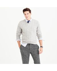 J.Crew - Gray Italian Wool Cable Sweater for Men - Lyst
