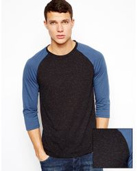 ASOS - Blue 3/4 Sleeve Tshirt with Contrast Raglan in Neppy Fabric for Men - Lyst