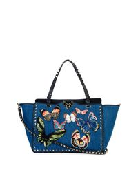 Valentino - Multicolor Butterfly Rockstud Denim Tote Bag - Lyst