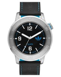 Adidas Originals - Black 'manchester' Leather & Silicone Strap Watch for Men - Lyst