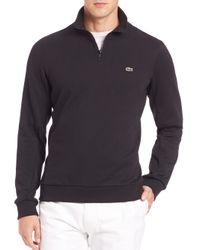 Lacoste   Black Quarter-zip Fleece Sweatshirt for Men   Lyst