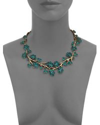 Oscar de la Renta | Green Gold-plated Crystal Branch Necklace | Lyst