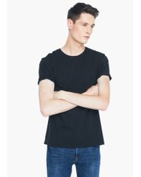 Mango - Black Cotton Essential T-shirt for Men - Lyst