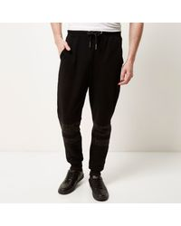 River Island - Black Systvm Panel Joggers for Men - Lyst