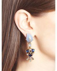 Oscar de la Renta | Blue Periwinkle Resin And Crystal Earrings | Lyst