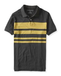 Aéropostale | Gray Placed Stripe Jersey Polo for Men | Lyst