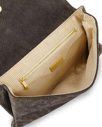 Lauren Merkin - Gray Ava Python-Print Suede Clutch Bag - Lyst
