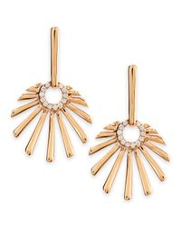 Frederic Sage | Metallic 18k Pink Gold Mini Retro Sun Earrings With Diamonds | Lyst