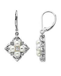 Lord & Taylor | Metallic Pearl And Diamond Earrings In Sterling Silver | Lyst