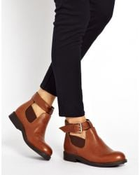 ASOS - Brown Ascot Leather Cut Out Ankle Boots - Lyst