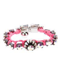 Shourouk - Pink Gem Embellished Braided Bracelet - Lyst