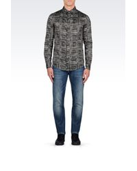 Armani Jeans | Gray Slim Fit Shirt In Cotton Chambray for Men | Lyst