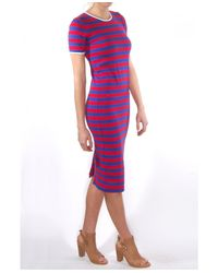 Harvey Faircloth - Blue Stripe Fitted T-Shirt Dress - Lyst