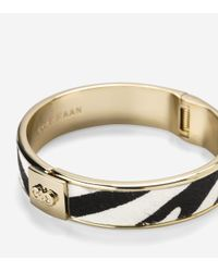 Cole Haan | Metallic Wide Hinged Pony Hair Inlay Bangle | Lyst
