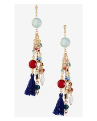 Express - Multicolor Tassel Fringe Dangle Post Earrings - Lyst
