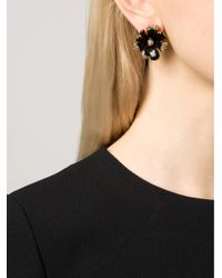 Oscar de la Renta - Black Orchid Enamel Clip Earrings - Lyst