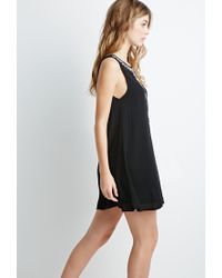Forever 21 | Black Embroidered Crepe Trapeze Dress | Lyst