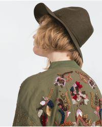 Zara | Brown Felt Hat | Lyst