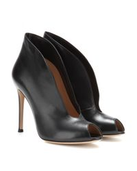 Gianvito Rossi | Black Vamp Leather Peep-toe Ankle Boots | Lyst