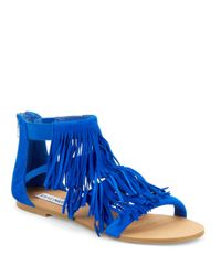 Steve Madden | Blue Leather Fringe Sandal | Lyst