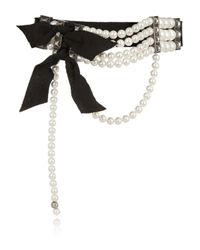 Lanvin - White Faux Pearl And Crystal Choker - Lyst