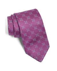David Donahue - Pink Medallion Silk Tie for Men - Lyst
