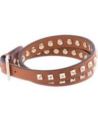 Valentino - Brown Tan Studded Wrap Bracelet for Men - Lyst