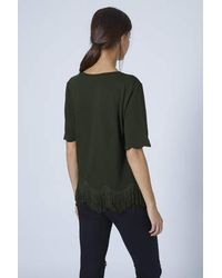 TOPSHOP | Green Fringe Scallop Tee | Lyst