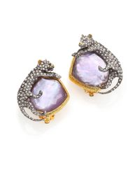 Alexis Bittar | Purple Elements Moonlight Mother-Of-Pearl & Crystal Doublet Panther Clip-On Earrings | Lyst