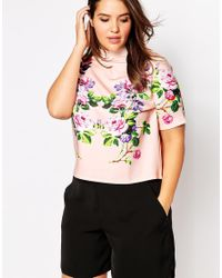 Asos Curve | Multicolor High Neck Top With Floral Placement Print | Lyst