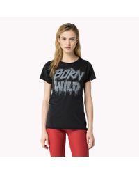 Tommy Hilfiger | Black Cotton Modal T-shirt | Lyst