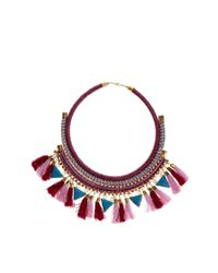 ASOS - Multicolor Triangle Tassel Necklace - Lyst