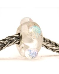 Trollbeads | White Dichroic Ice Glass Charm Bead | Lyst