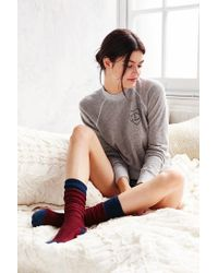 Urban Outfitters | Red Chevron Stitch Colorblock Thigh-high Sock | Lyst