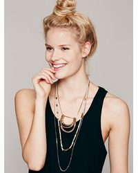 Free People - Metallic Tiered Chain and Suede Mix Layered Necklace - Lyst