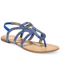 Material Girl - Blue Serena Flat Thong Sandals, Only At Macy's - Lyst
