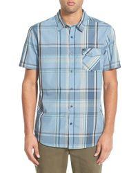 Rip Curl - Blue 'mancos' Plaid Short Sleeve Sport Shirt for Men - Lyst