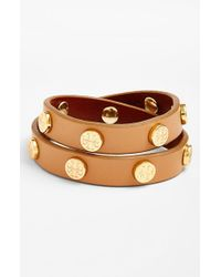 Tory Burch | Metallic Double Wrap Logo Bracelet - Aged Vachetta | Lyst