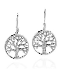 Aeravida - Metallic Immortal Tree Of Life .925 Sterling Silver Dangle Earrings - Lyst