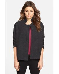 Eileen Fisher | Gray Stand Collar Boiled Merino Wool Jacket | Lyst
