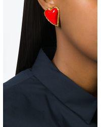 Christian Lacroix - Metallic Stone Heart Earrings - Lyst