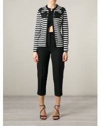 Dolce & Gabbana - Black Lace Detail Striped Cardigan - Lyst