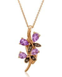 Le Vian | Purple 14kt Rose Gold Amethyst And Brown Diamond Pendant Necklace | Lyst