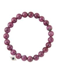 Sydney Evan - 8Mm Natural Ruby Beaded Bracelet With 14K Yellow Gold/Diamond Small Evil Eye Charm (Made To Order) - Lyst