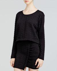 Aqua | Black Sweatshirt - Cable Double Knit Crop | Lyst